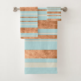 Copper Stripe Robins Egg Blue Bathroom Towel Set