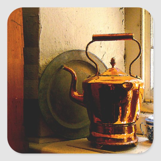 Copper Tea Kettle on Windowsill Square Sticker