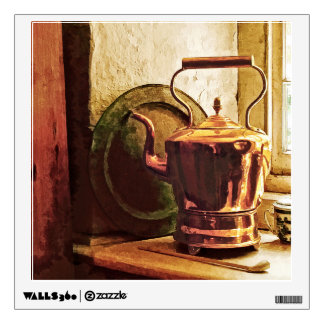 Copper Tea Kettle On Windowsill Wall Sticker
