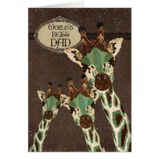 Copper & Teal  Giraffes Best  Father's Day Card