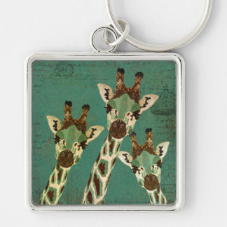 Copper & Teal  Giraffes  Keychain