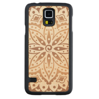 Copper Tones Ornate Floral Mandala GR5 Carved Maple Galaxy S5 Case