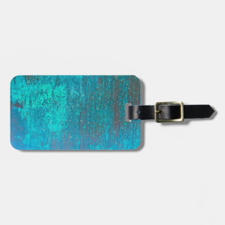 copper verdigris teal abstract modern art design bag tag