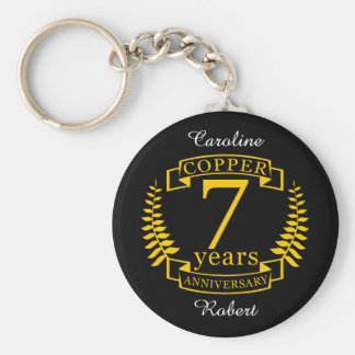Copper wedding anniversary 7  years keychain