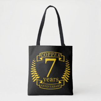 Copper wedding anniversary 7  years tote bag