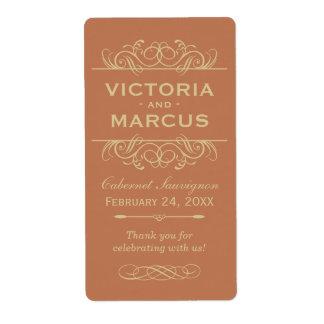 Copper Wedding Wine Bottle Monogram Favour Labels