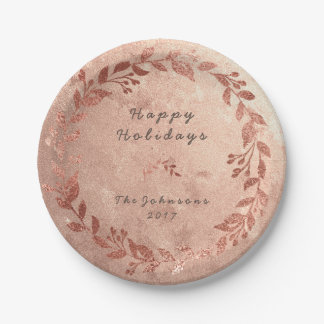 Copper Wreath Pink Rose Gold Gray Christmas Paper Plate