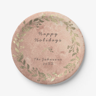 Copper Wreath Pink Rose Gold Laurel Christmas Paper Plate