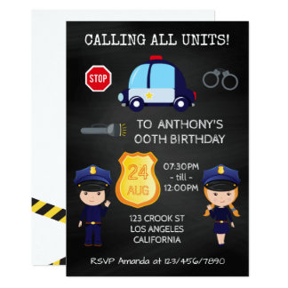 Cops and Robbers Birthday Chalkboard add photo Card