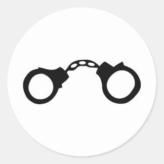 cops handcuffs classic round sticker