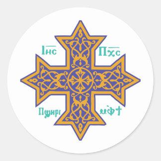 Coptic Cross Round Sticker