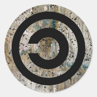 Copyleft grunge round sticker