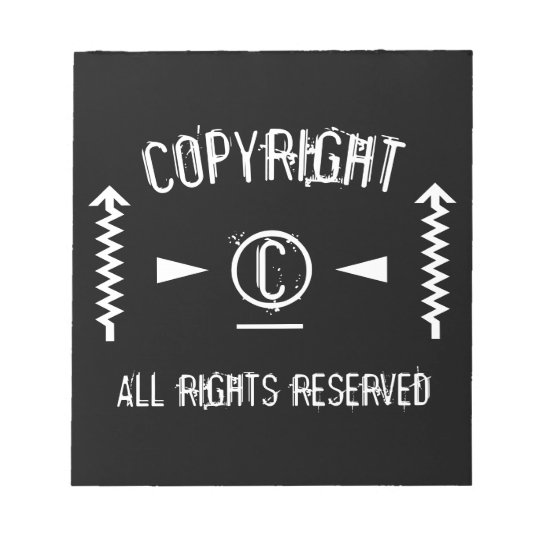 Copyright Symbol All Rights Reserved With Arrows Notepad