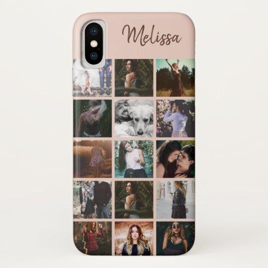 Coque Case-Mate Pour iPhone Collage photo personnalisé et nom Amis Souvenirs