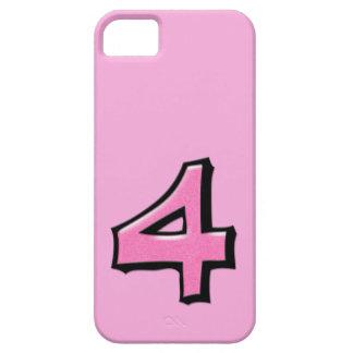Coque-Compagnon rose de l'iPhone 5 du numéro 4 idi Étuis iPhone 5