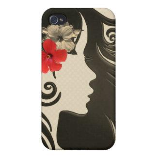 Coque iPhone 4 Rétro caisse rouge Girly de téléphone de fleur.