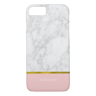 Coque iPhone 7 Feuille d'or de marbre rose de motif et de Faux