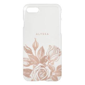 Coque iPhone 7 Les roses de thé vintages d'or rose de Faux se