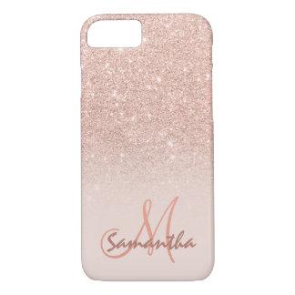 Coque iPhone 8/7 Bloc rose élégant de rose d'ombre d'or