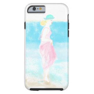 Coque iphone bleu d'illustration de fille de mode coque tough iPhone 6