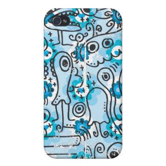 Coque iphone bleu fou de créatures étuis iPhone 4