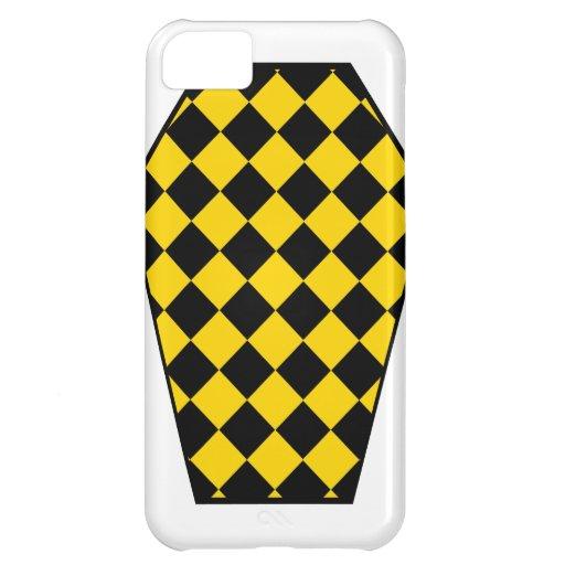 Coque iphone de bois d'ébène de Damier (or) Coque iPhone 5C