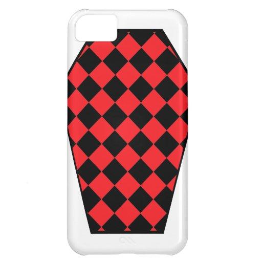Coque iphone de bois d'ébène de Damier (rubis) Coques Pour iPhone 5C
