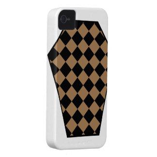 Coque iphone de bois d'ébène de Damier (Tan) Étui iPhone 4