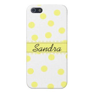 Coque iphone jaune et blanc de Polkadot Coques iPhone 5