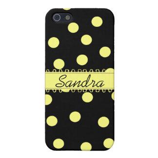 Coque iphone jaune et noir de Polkadot Coques iPhone 5
