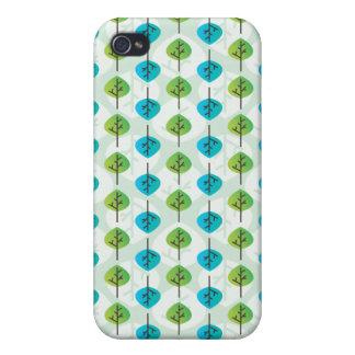 Coque iphone modelé rétro par feuille de vert bleu coque iPhone 4 et 4S