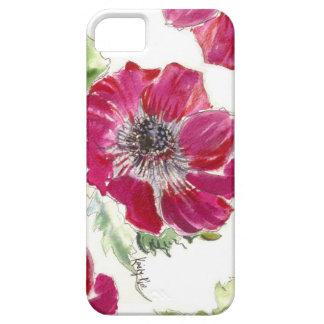 Coque iphone rose d'aquarelle d'anémone étuis iPhone 5
