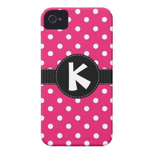 Coque iphone rose et noir de point de polka étui iPhone 4