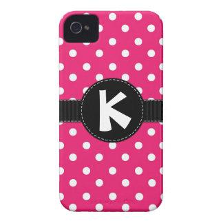 Coque iphone rose et noir de point de polka coques iPhone 4 Case-Mate