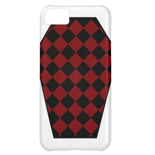 Coque iphone (rouge) de bois d'ébène de Damier Étuis iPhone 5C