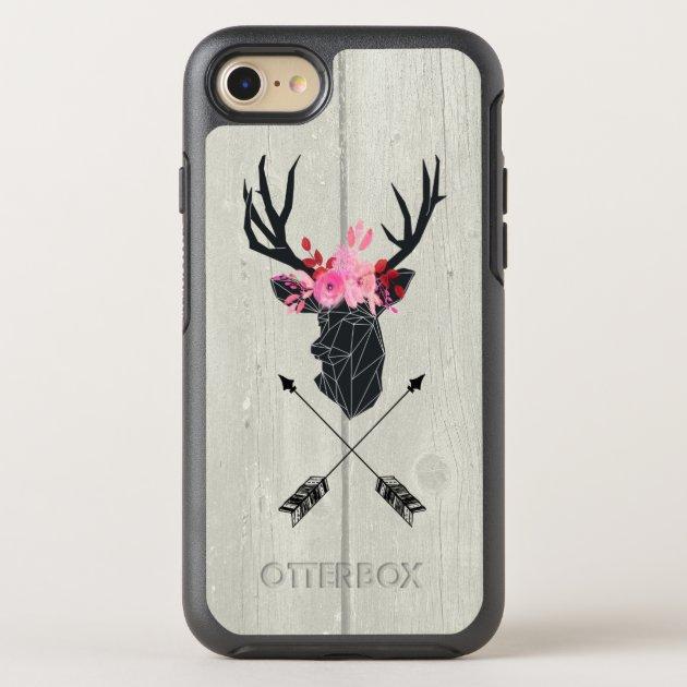 Coque OtterBox Pour iPhone Tête de cerf géométrique avec couronne florale sur | Zazzle.ca