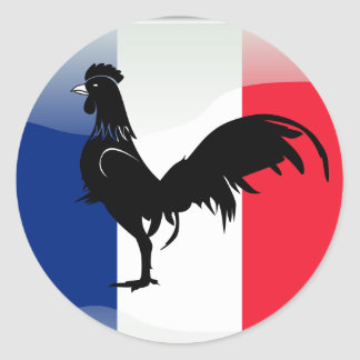 Coquelet drapeau classic round sticker