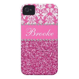 Coques iPhone 4 Caisse rose et blanche de fausse pierre de damassé