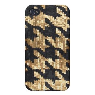 Coques iPhone 4 Pied-de-poule de Bling d'or de parties