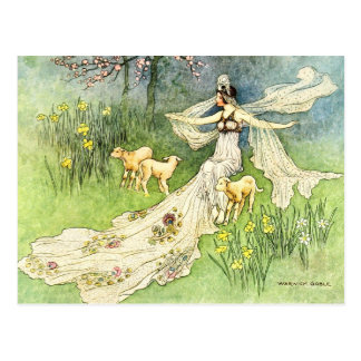 Coquette et agneaux féeriques carte postale