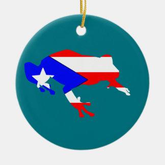 coqui flag round ceramic ornament