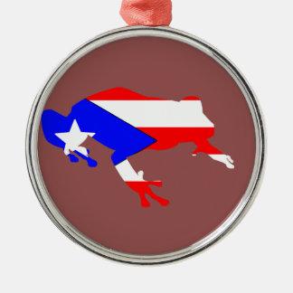 coqui flag Silver-Colored round ornament