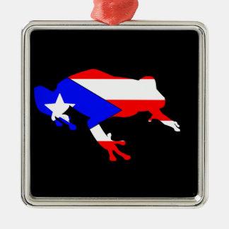 coqui flag Silver-Colored square ornament