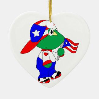Coqui Puerto Rico Pride Ceramic Heart Ornament