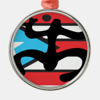 Coqui taíno on flag of Puerto Rico Silver-Colored Round Ornament