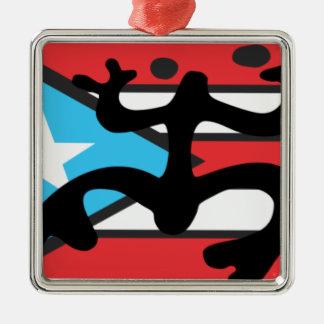 Coqui taíno on flag of Puerto Rico Silver-Colored Square Ornament