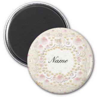 Coquillages et perles personnalisés magnet rond 8 cm
