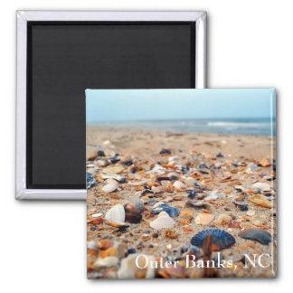 Coquillages sur l'aimant de plage magnet carré