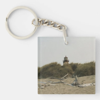 Coquille River Lighthouse, View from the Beach Keychain