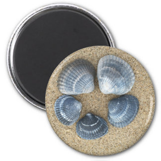 Coquilles bleues magnet rond 8 cm